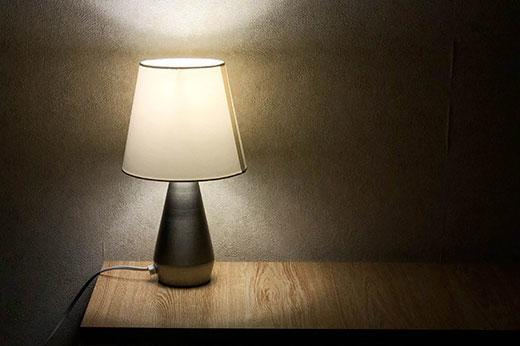Lamp dimmed on a small table