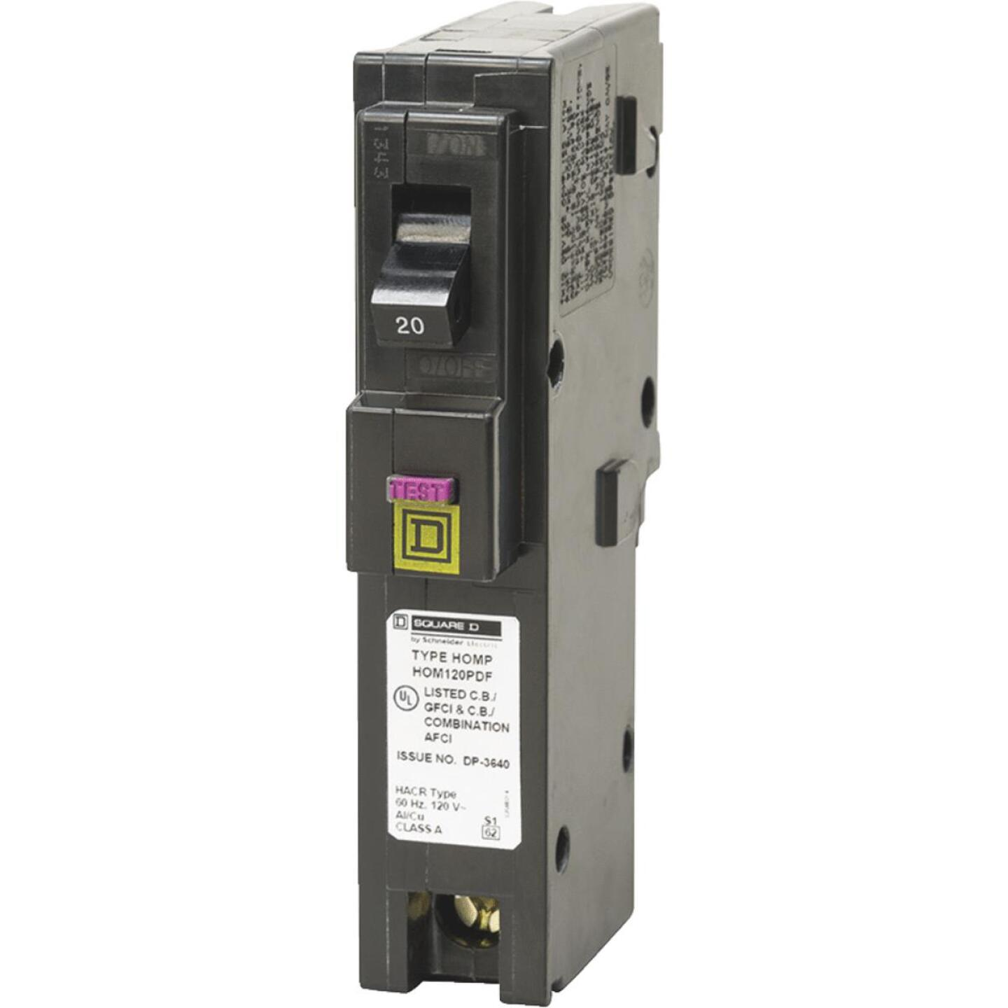 Square D Homeline 20A Single-Pole CAFCI Plug-On Neutral Dual Function Circuit Breaker Image 1