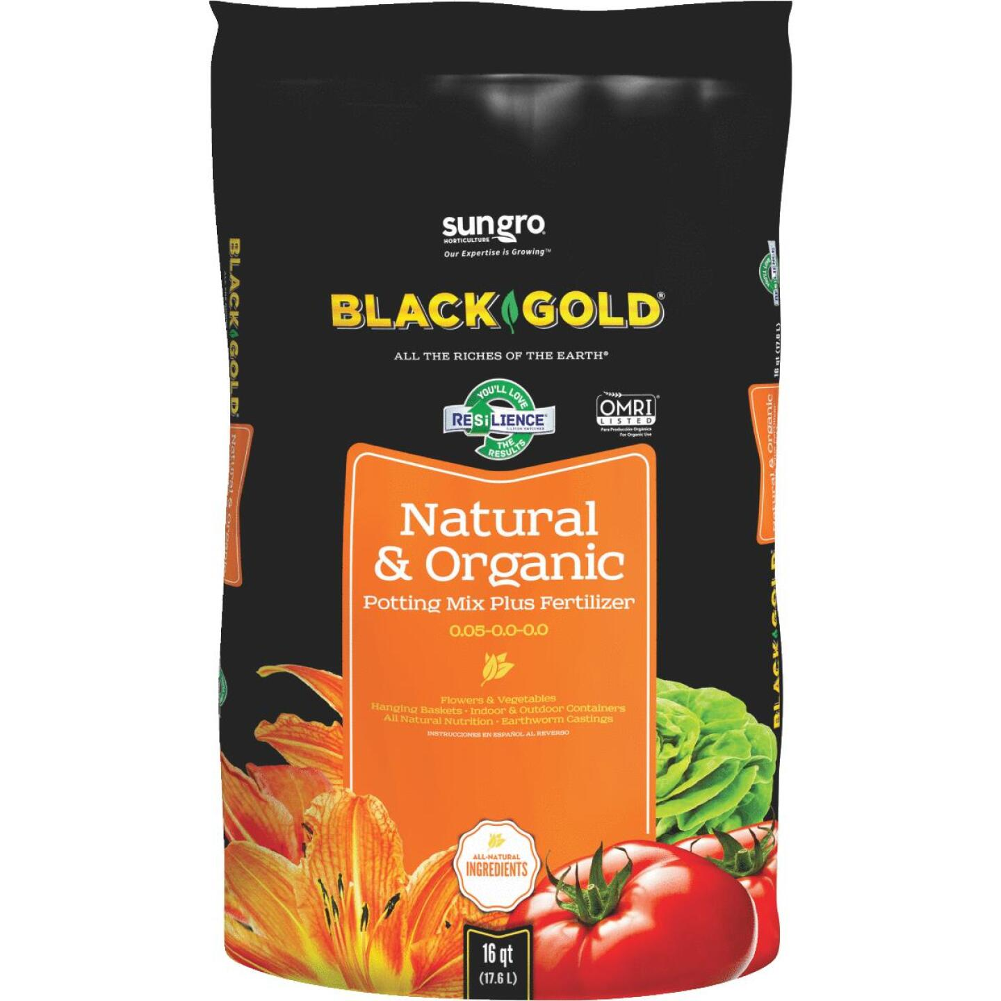 Black Gold 16 Qt. 13-1/3 Lb. All Purpose Natural & Organic Potting Soil Image 1