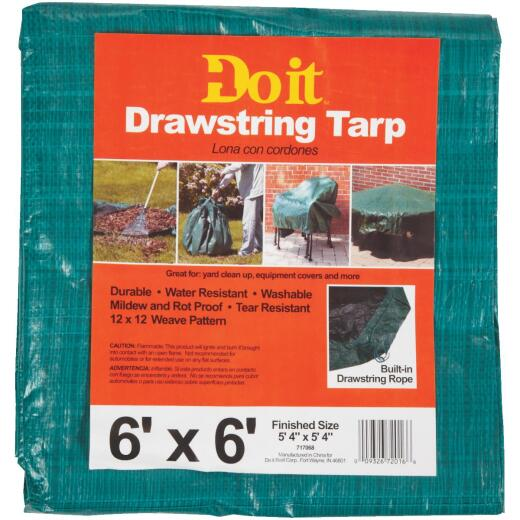 Do it 6 Ft. x 6 Ft. Poly Fabric Green Lawn Cleanup Tarp
